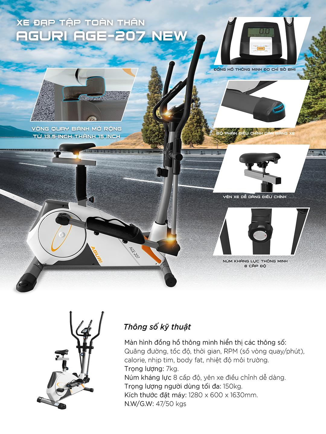 Xe đạp tập gym - Xe đạp tập toàn thân AGE-207 NEW