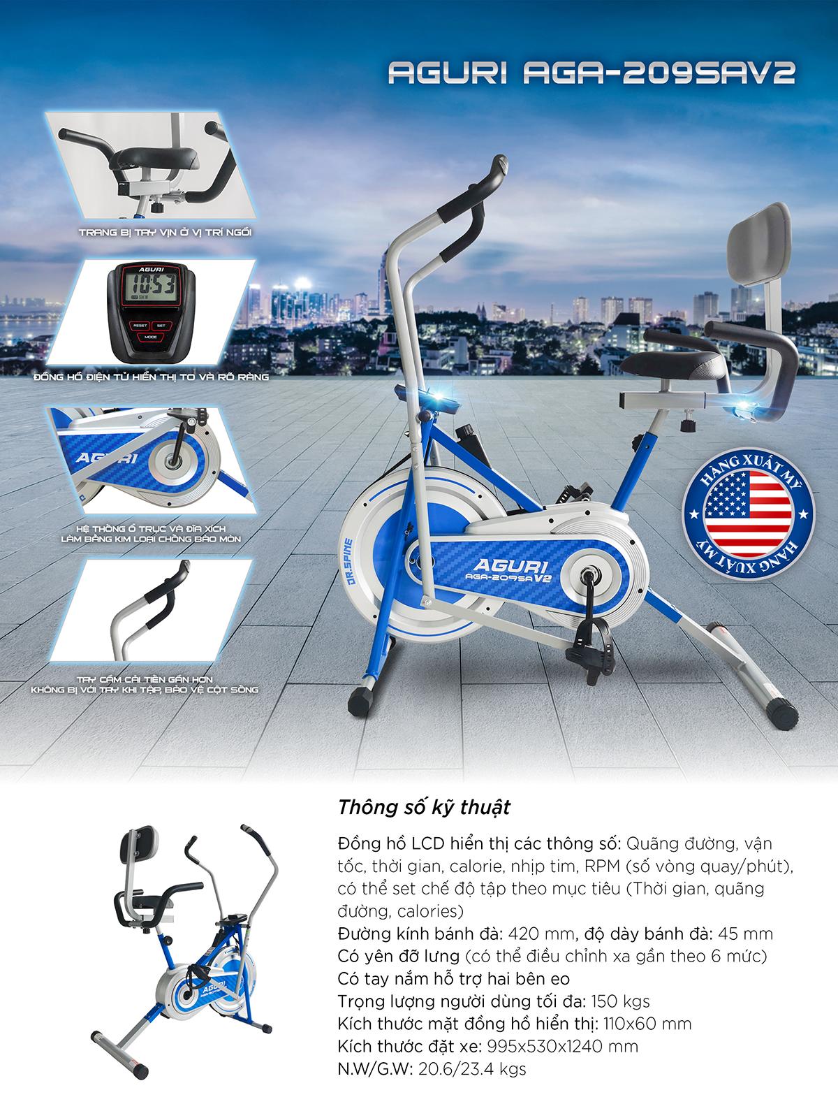 Thông số kỹ thuật của Xe đạp tập tại nhà AGA-209SAV2